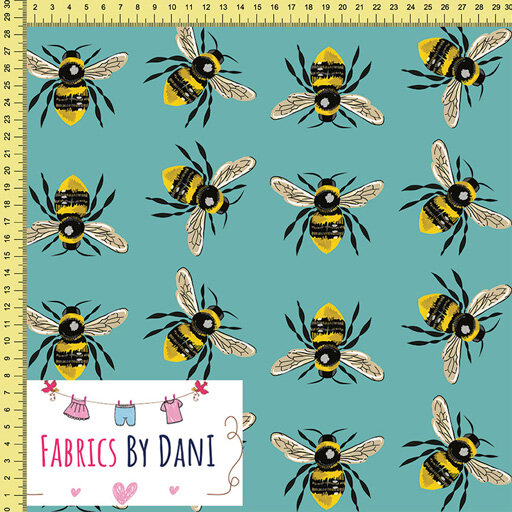 Bees on Teal Fabric