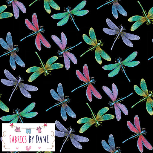 Dragonflies - Black Background Fabric