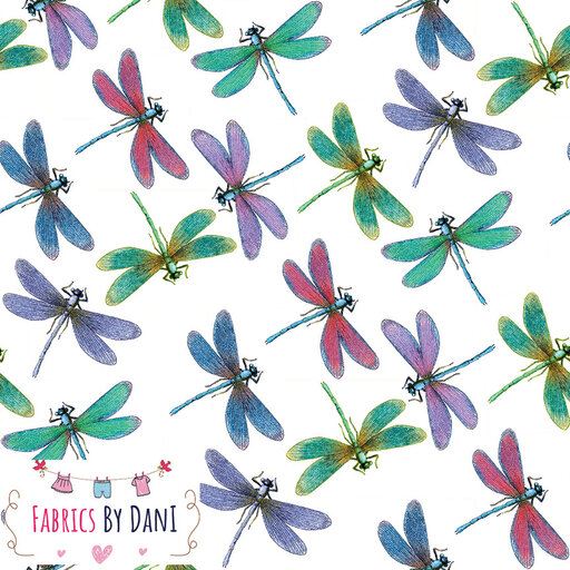 Dragonflies - White Background Fabric