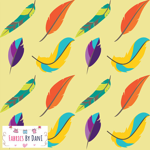 Feathers - Yellow Fabric