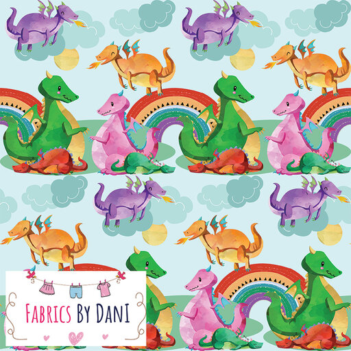 Happy Dragons Fabric