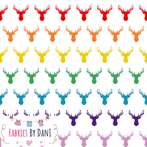 Rainbow Stags Fabric