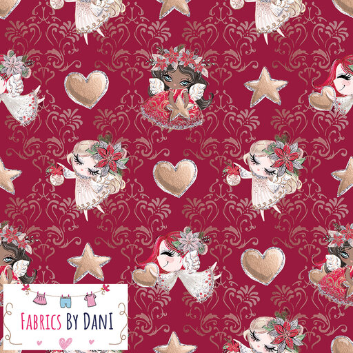 Red Christmas Angels Fabric