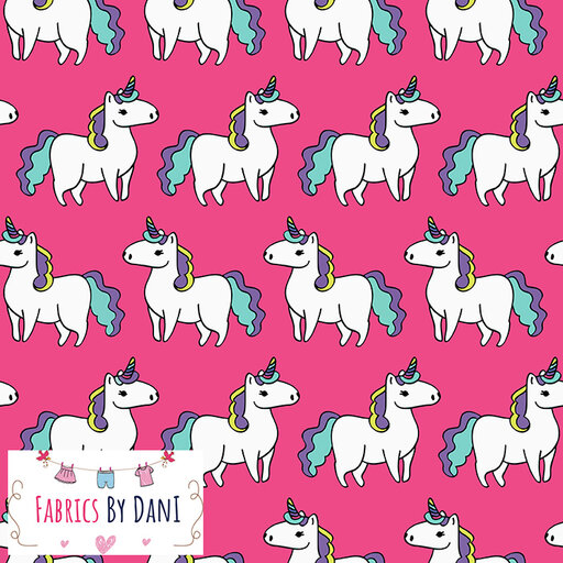 Unicorns on Pink Fabric